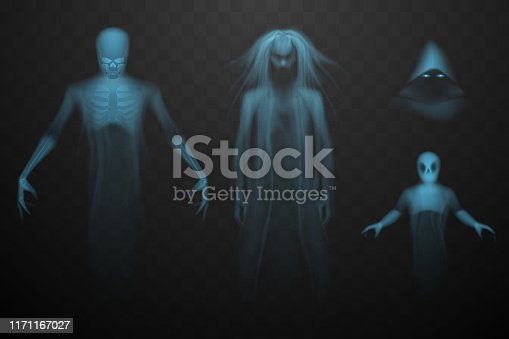 Ghosts set on rtansparent background in vector