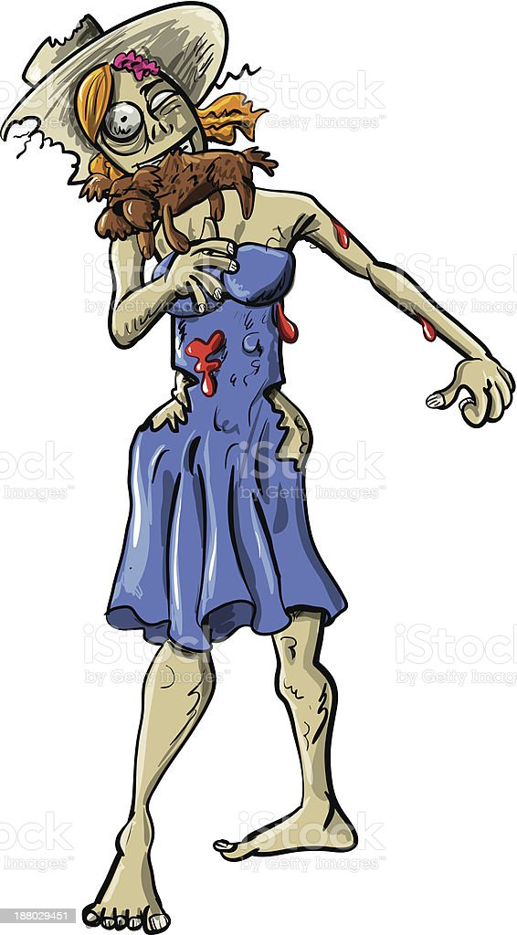 Ghoulish female zombie eating a dog royalty-free stock vector art