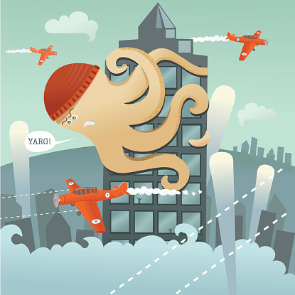 Giant Angry Octopus Climbing Tower with Planes Flying Around