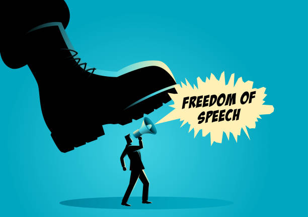 Giant army boot trampling on a man Vector illustration of a giant army boot trampling on a man, dictator, freedom of speech, authority concept stepping stock illustrations