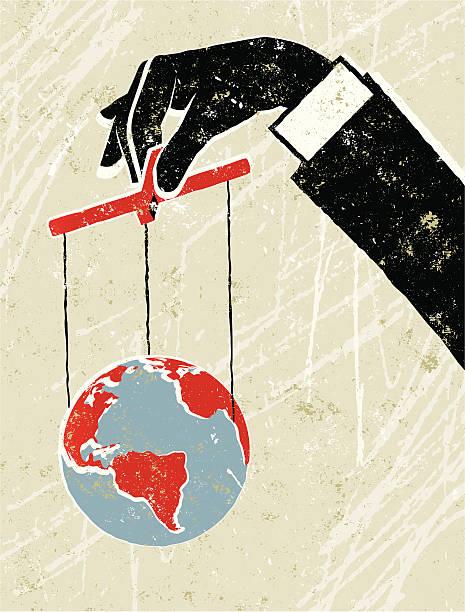 giant biznes człowiek trzyma świecie kukiełka - marionetka stock illustrations