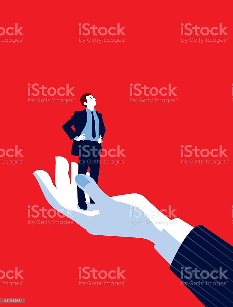Giant Business Man's Hand Holding Tiny Businessman vector art illustration