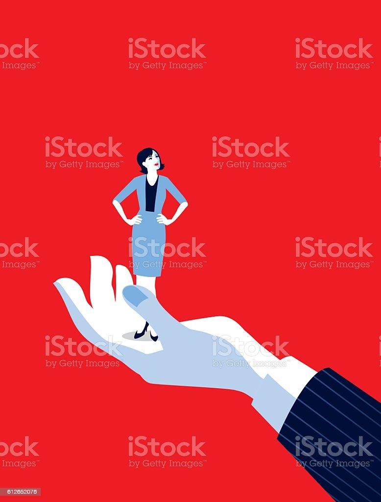 Giant Business Man's Hand Holding Tiny Businesswoman vector art illustration