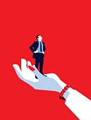Mentoring!. A stylized vector cartoon reminiscent of an old screen print poster of a giant businesswoman's hand holding a tiny standing businessman. Concept to show relationship issues, femme fatale, recruitment, in hand, control, mentoring or management.