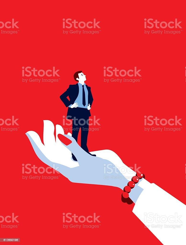 Giant Business Woman Hand Holding Tiny Businessman vector art illustration