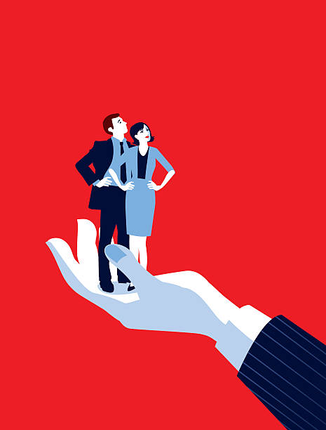 giant businessman's hand holding tiny businesswoman and man - autorytet stock illustrations