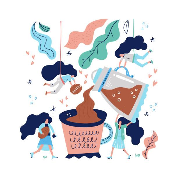 ilustraciones, imágenes clip art, dibujos animados e iconos de stock de taza de café gigante - barista