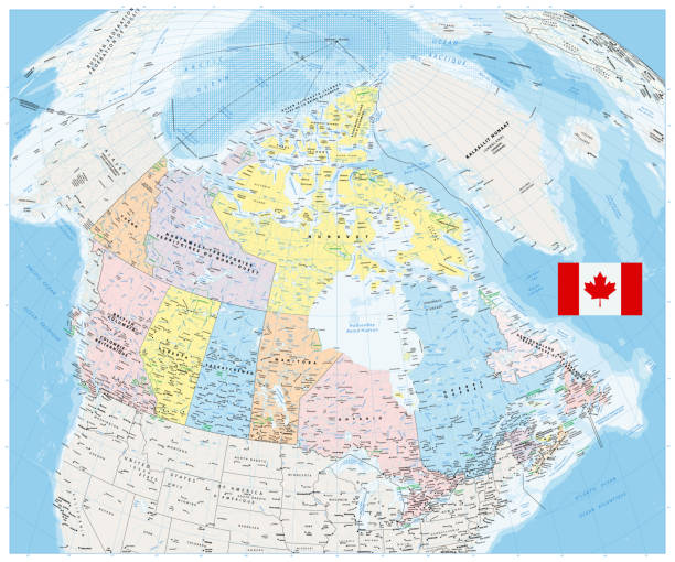 Giant detailed political map of Canada with cities and towns 2 Giant detailed political map of Canada with cities and towns 2. No roads and highways. quebec stock illustrations