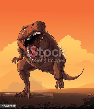 Giant prehistoric monster of dinosaur age — Tyrannosaurus Rex.