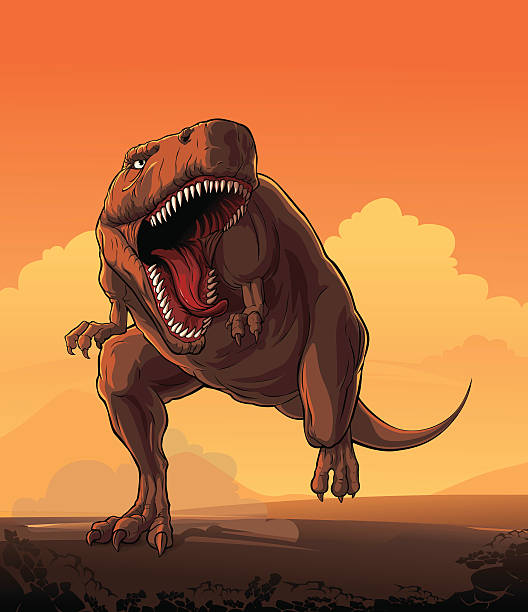 giant dinosaur: t-rex - dinosaur stock illustrations, clip art, cartoons, & icons