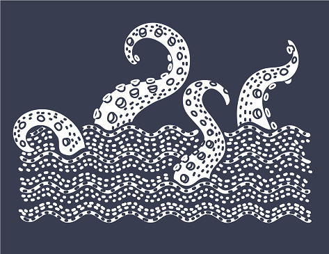 Giant evil kraken absorbs commercial sailing ship, silhouette octopus sea monster with tentacles