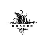 Giant evil kraken absorbs commercial sailing ship, silhouette octopus sea monster with tentacles for symbol and t-shirt print or seafood mascot label, ocean life concept, simple detailed black vector illustration