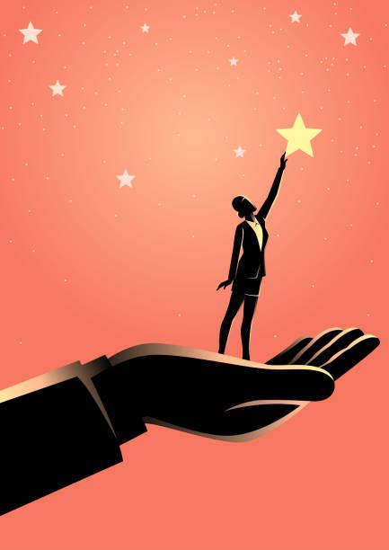 illustrazioni stock, clip art, cartoni animati e icone di tendenza di giant hand helping a business woman to reach out for the stars - dream