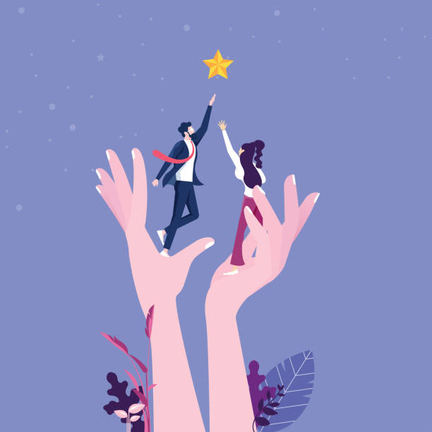 A giant hand helping a businesspeople to reach out for the stars A giant hand helping a businesspeople to reach out for the stars giant fictional character stock illustrations