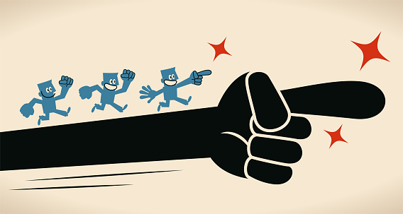 Giant hand leads a group of people, teamwork cooperation and the bigger picture concept