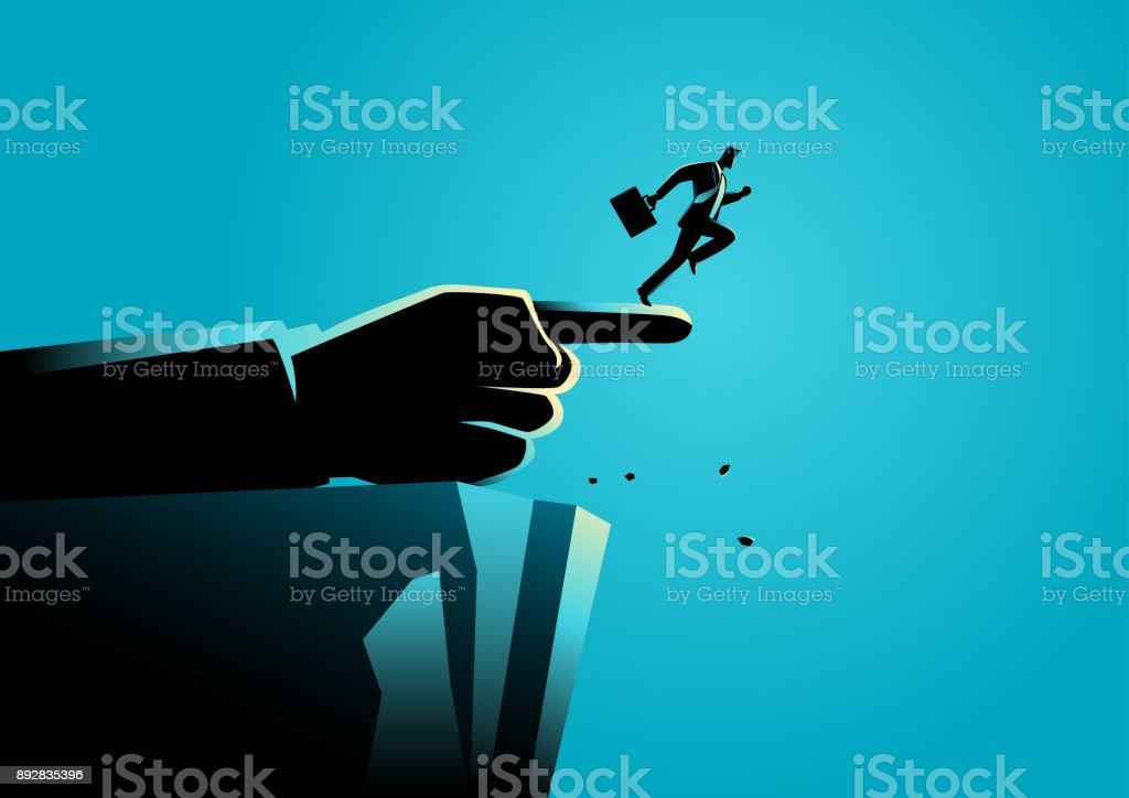 Giant hand pointing to the wrong way to a businessman vector art illustration