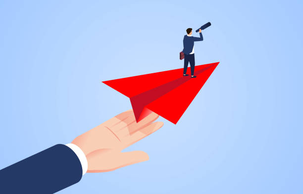 Giant helps businessman stand flying on paper plane and explore through telescope vector art illustration