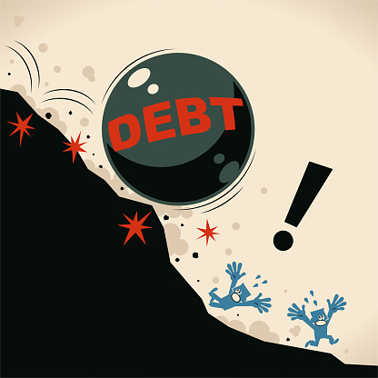 Giant iron ball (debt burden) falling off a cliff and people screaming escaping, financial crisis and economic recession concept