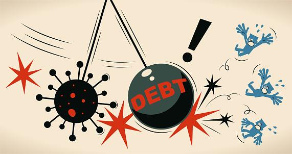 Giant iron pendulum debt sphere and coronavirus hitting people, Pandemic and the global economic impact of Coronavirus COVID-19, financial crisis and economic recession concept