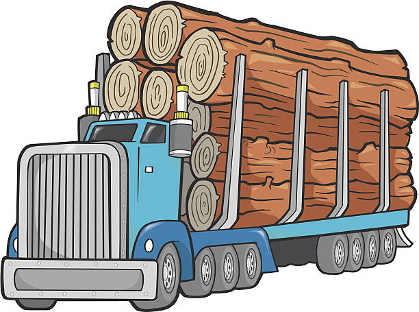 Giant Logging Truck Vector Illustration vector art illustration