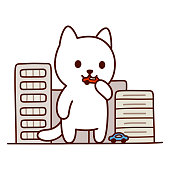 Giant monster cat destroying city, Japanese anime genre. Cute and funny cartoon vector illustration.
