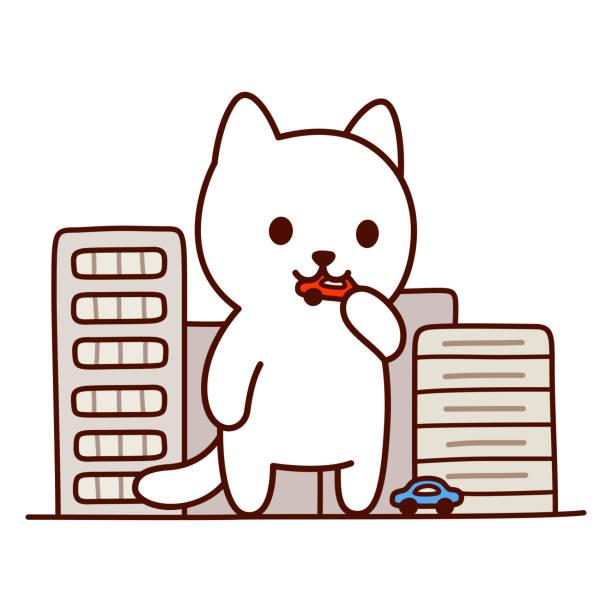 巨大なモンスターの猫 - 漫画のモンスター点のイラスト素材/クリップアート素材/マンガ素材/アイコン素材
