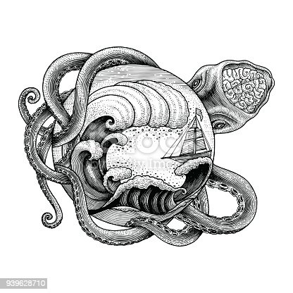 Giant Octopus Attacking Ship And Big Ocean Wave Hand ...