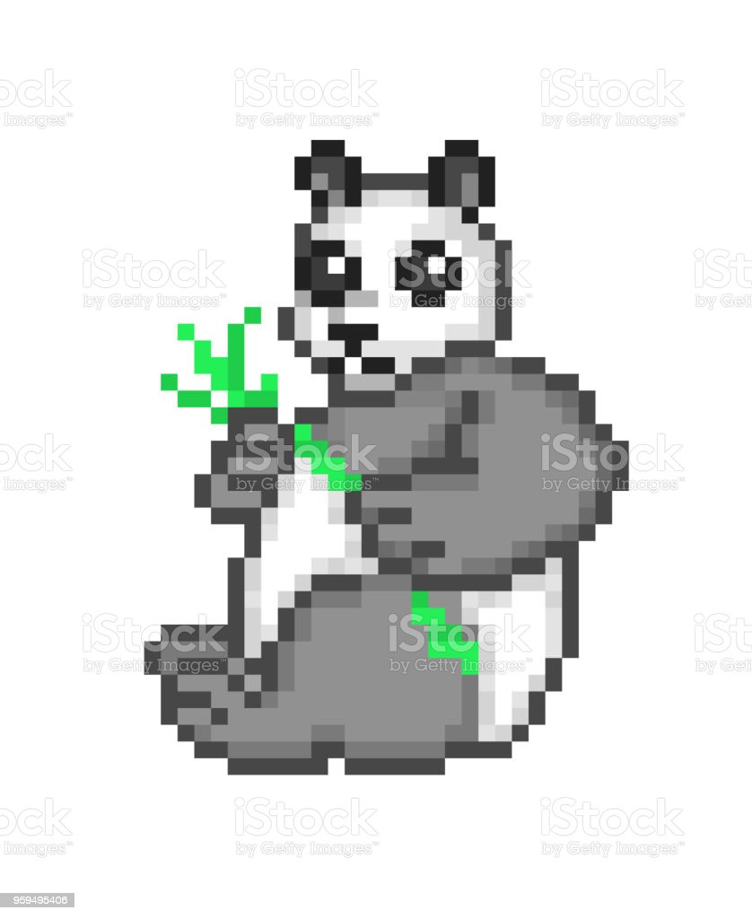 Giant Panda Bear Holding Bamboo In Paws Pixel Art Cartoon Character