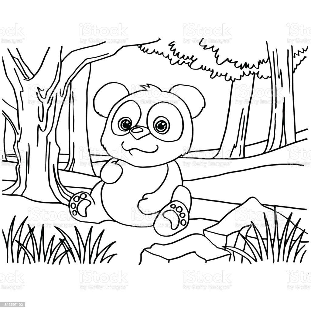 Dev Panda Boyama Sayfalari Vektor Stok Vektor Sanati Animasyon