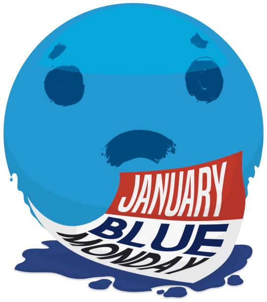 stockillustraties, clipart, cartoons en iconen met reuze sad face en kalender voor blauwe maandag - blue monday