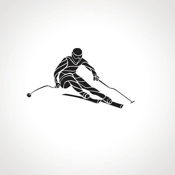 giant slalom-skifahren racerback-silhouette. vektor-illustration - skirennen stock-grafiken, -clipart, -cartoons und -symbole