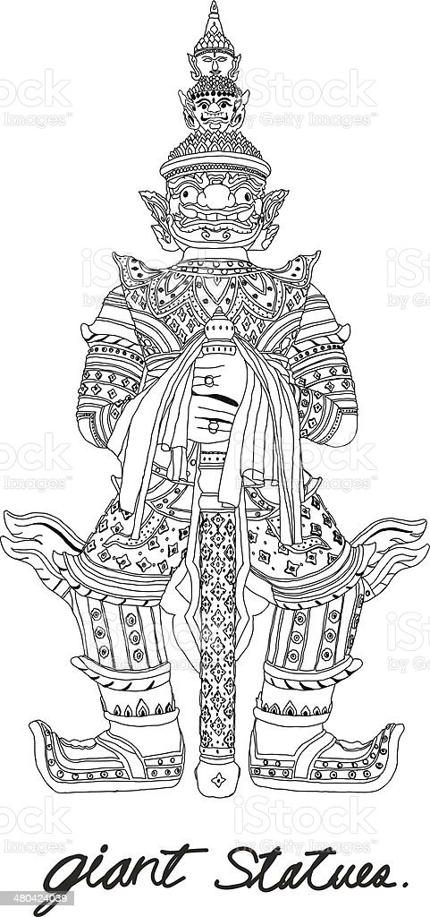 Giant Statues Vector royalty-free stock vector art