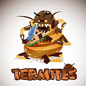 Giant Termites Monster eating your home. character design. typographic for header design - vector