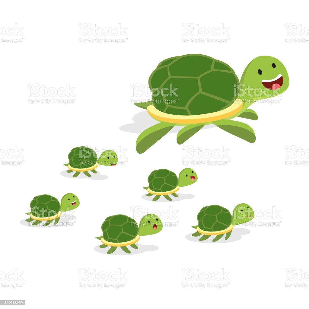 Giant turtle and baby turtles vector art illustration