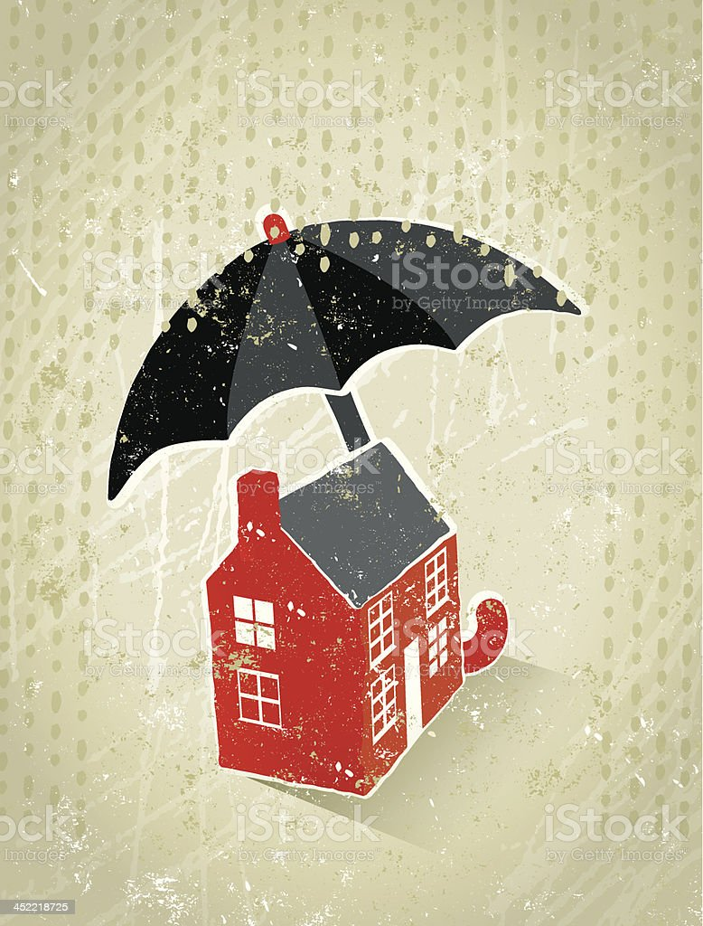 Giant Umbrella Protecting a Tiny house From the Rain royalty-free stock vector art