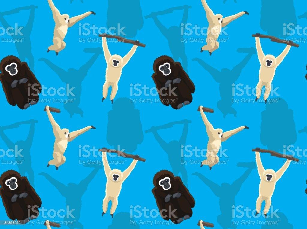 Gibbon Cartoon Seamless Wallpaper vector art illustration