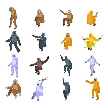 Gibbon icons set, isometric style