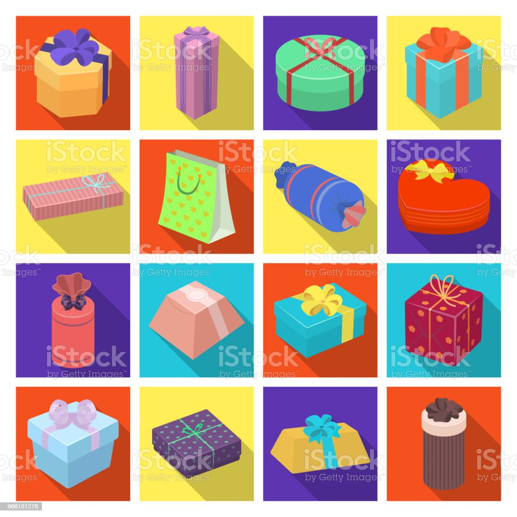 Gift and packing flat icons in set collection for design.Colorful packing vector symbol stock web illustration. - Векторная графика Без людей роялти-фри