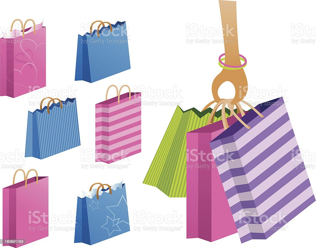 Gift and shopping bags vector art illustration