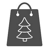 Gift bag with tree sign line and solid icon. Christmas present package outline style pictogram on white background. Festive paper-bag with firtree for mobile concept and web design. Vector graphics