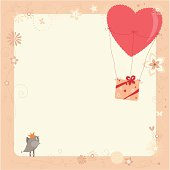 Bird, balloon and gift box.  Saved in AI, EPS and large JPG.