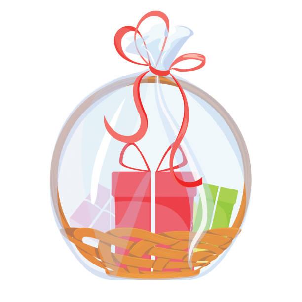 선물 바구니. 리본과 서프라이즈 박스가 있는 휴일 축 하 선물. 벡터 - 바구니 stock illustrations