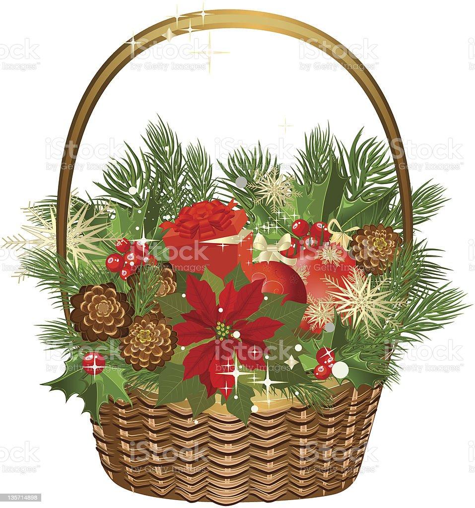 Geschenkkorb Mit Blumen Und Weihnachten Spielzeug Stock Vektor Art ...