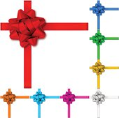 Gift bows with ribbons in 8 colors. Red, blue, yellow, pink, silver, bronze, orange, aquamarine, green gift bows.  EPS10 effect transparent shadows.