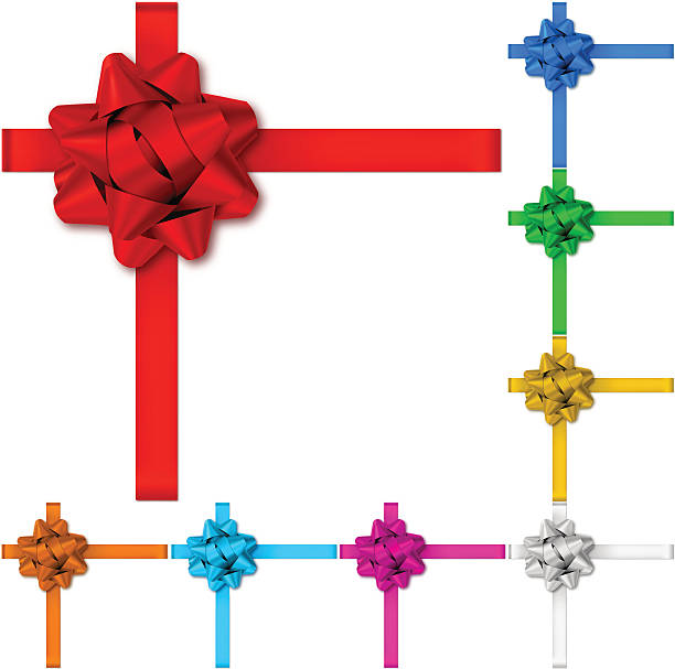 gift bows with ribbons - tied bow stock illustrations