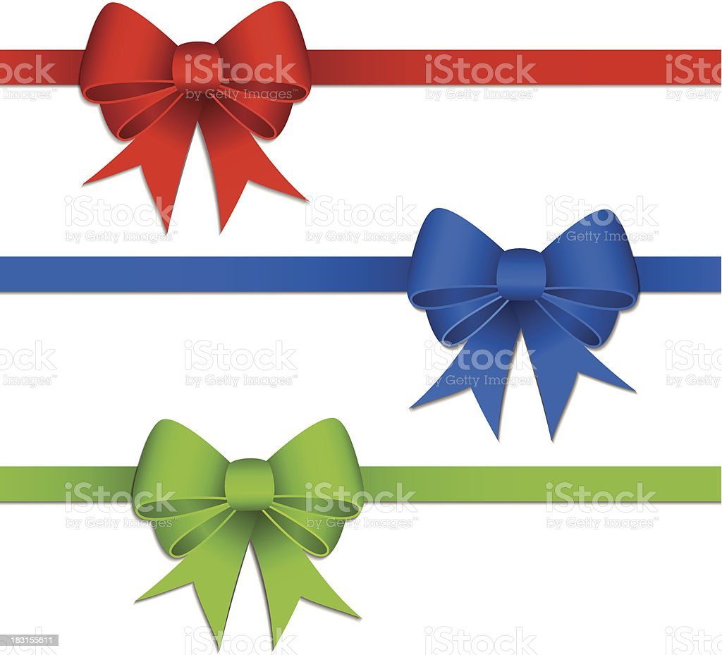 Gift bows with ribbons vector art illustration