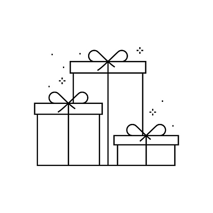 Gift Box and Merry Christmas, Happy New Year Line Icon