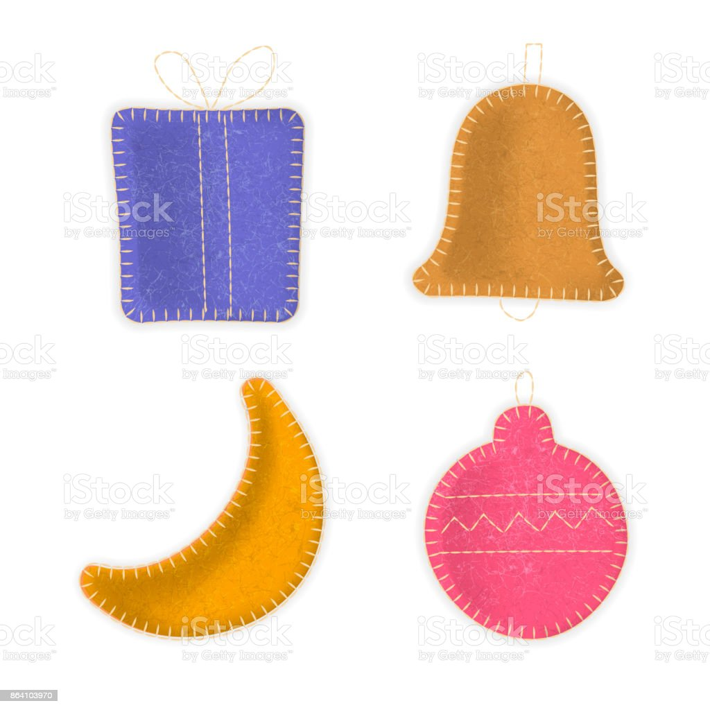 Gift box, bell, moon, Christmas ball made of felt cloth with stitches. royalty-free gift box bell moon christmas ball made of felt cloth with stitches stock vector art & more images of ball