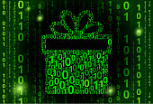 istock Gift Box Binary Code Vector Pattern Background 952048026