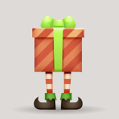 Gift box christmas elf legs santa claus new year cartoon 3d character design vector illustration
